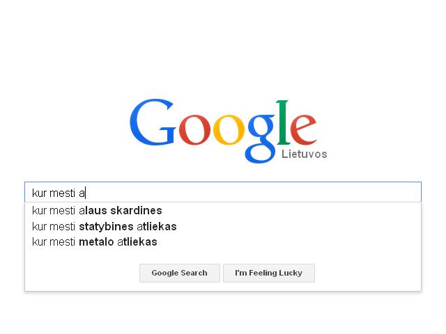 Standartinės užklausos Google paieškoje atsiranda tada, kai