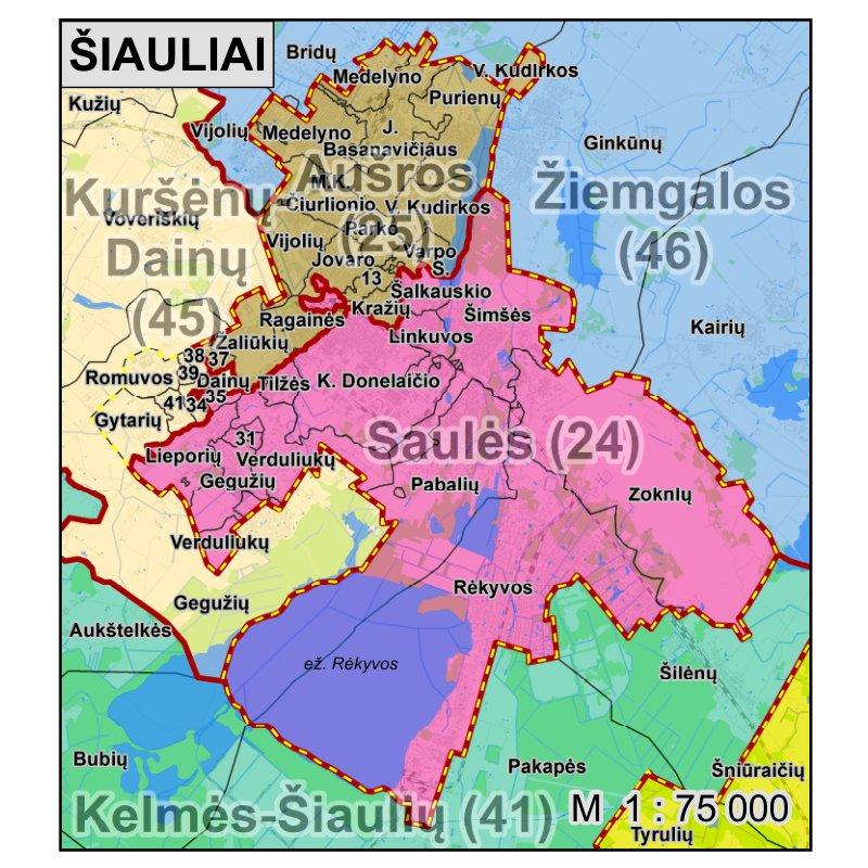 Dabar Šiaulių rinkimų apygardos bus tokios. Šaltinis: VRK