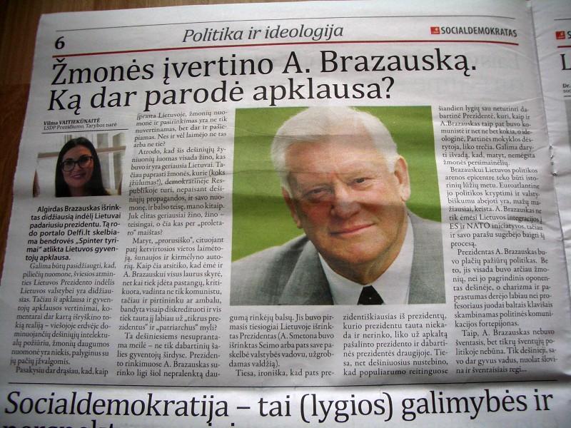 Na ir kaip socialdemokratai be savojo stabo Brazausko!
